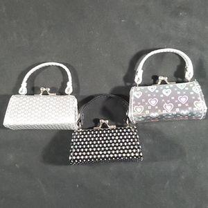 Change purse, silver micro, mini purse. Set of 3